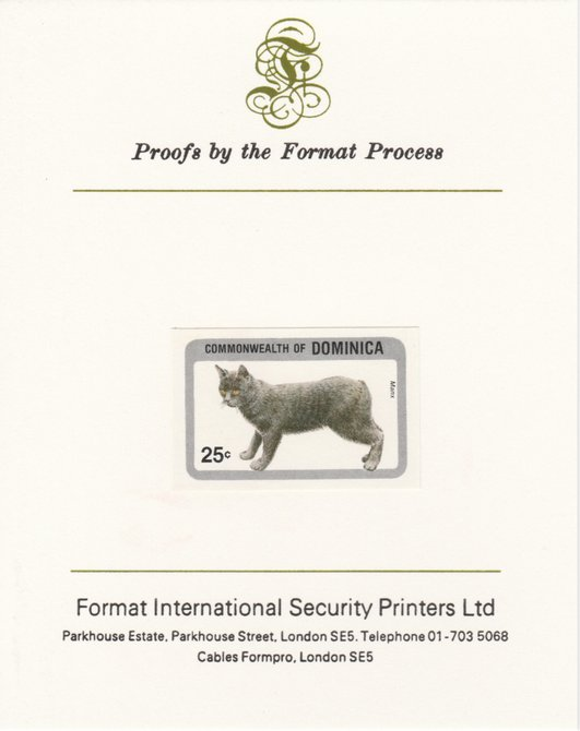 Dominica 1984 Cats 25c (Manx) imperf proof mounted on Format International proof card as SG 915