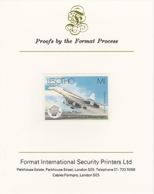 Lesotho 1983 Manned Flight 1m (Concorde) imperf proof mounted on Format International proof card as SG 548