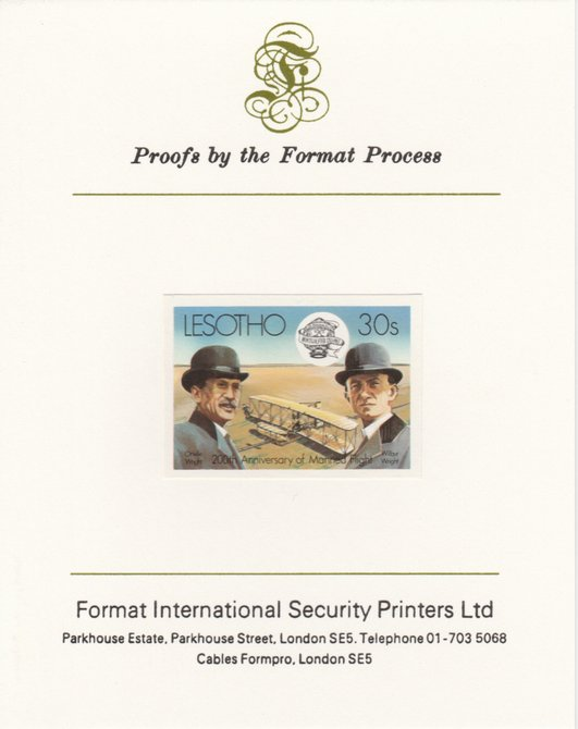 Lesotho 1983 Manned Flight 30s (Wright Brothers & Flyer) imperf proof mounted on Format International proof card as SG 546