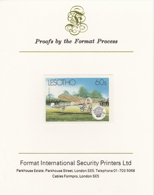 Lesotho 1983 Manned Flight 60s (First Airmail Flight) imperf proof mounted on Format International proof card as SG 547