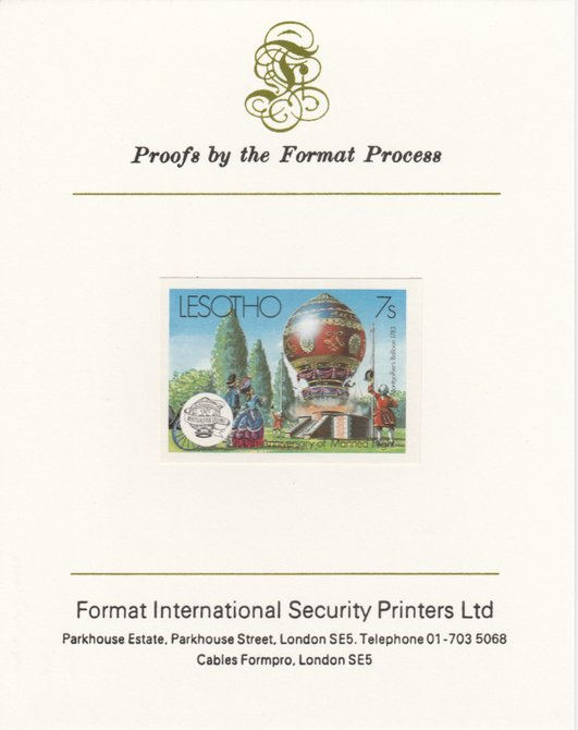 Lesotho 1983 Manned Flight 7s (Montgolfer Balloon) imperf proof mounted on Format International proof card as SG 545