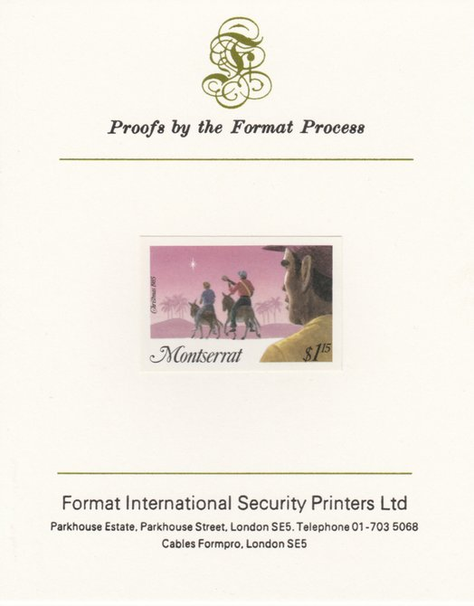 Montserrat 1985 Christmas $1.15 (Three Wise Men) imperf proof mounted on Format International proof card as SG 666