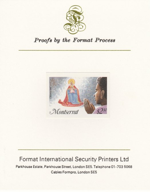 Montserrat 1985 Christmas $2.30 (Praying) imperf proof mounted on Format International proof card as SG 668