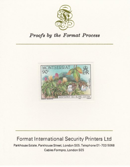 Montserrat 1985 Sea Island Cotton 90c (Cotton Plants) imperf proof mounted on Format International proof card as SG 645