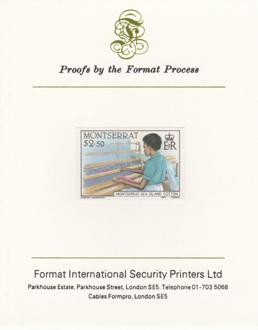 Montserrat 1985 Sea Island Cotton $2.5 (Weaving with Hand Loom) imperf proof mounted on Format International proof card as SG 648