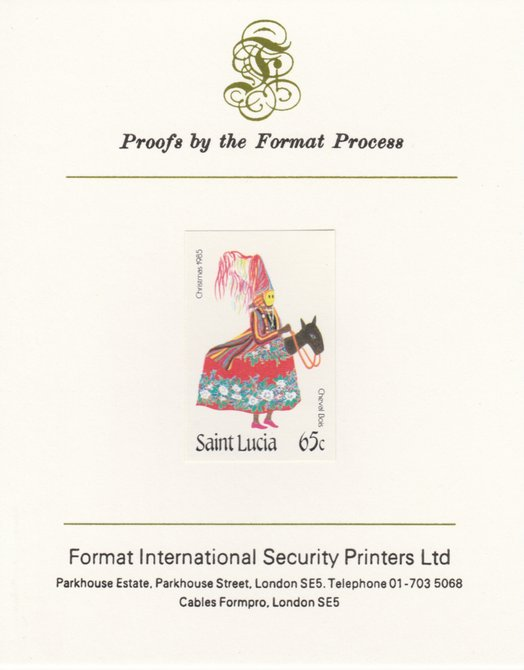 St Lucia 1985 Christmas Masqueraders 65c imperf proof mounted on Format International proof card as SG 856