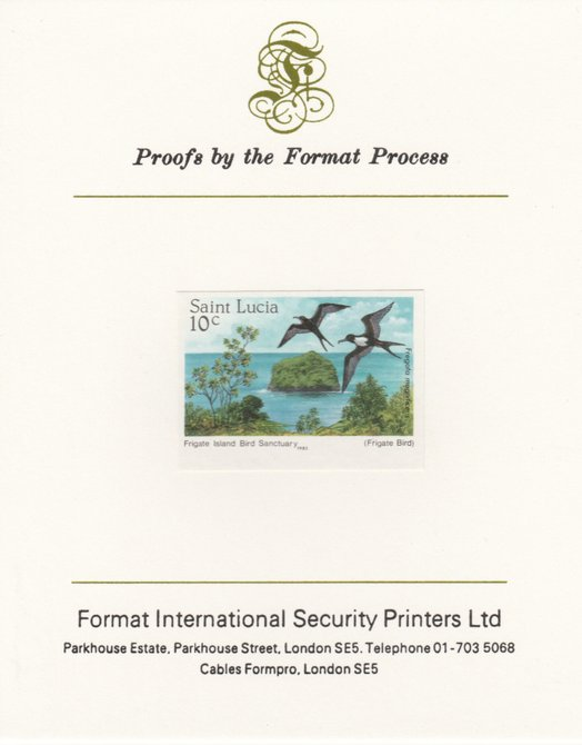 St Lucia 1985 Nature Reserves 10c Frigate Birds imperf proof mounted on Format International proof card as SG 820