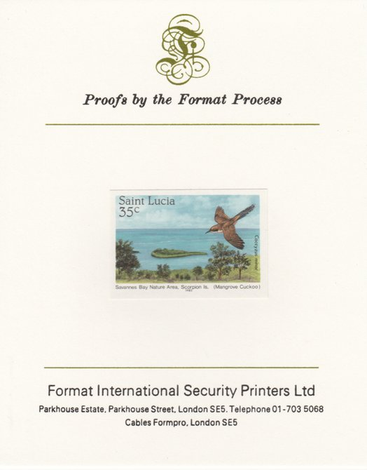 St Lucia 1985 Nature Reserves 35c Mangrove Cuckoo imperf proof mounted on Format International proof card as SG 821