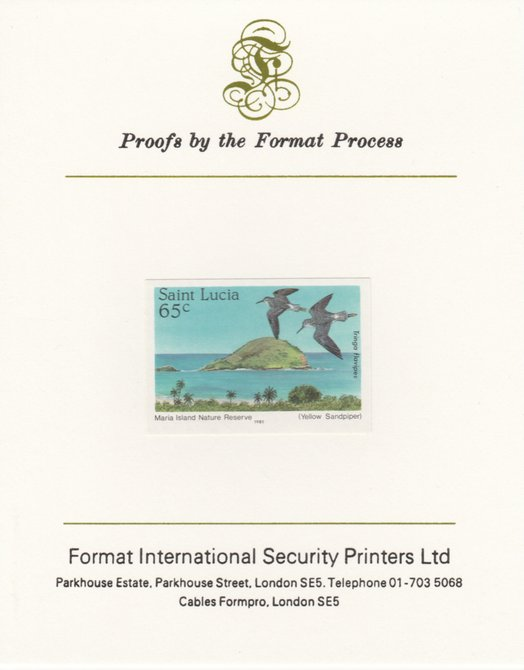 St Lucia 1985 Nature Reserves 65c Lesser Yellowlegs imperf proof mounted on Format International proof card as SG 822