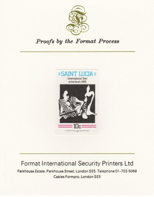 St Lucia 1985 Int Youth Year Paintings 10c imperf proof mounted on Format International proof card as SG 841