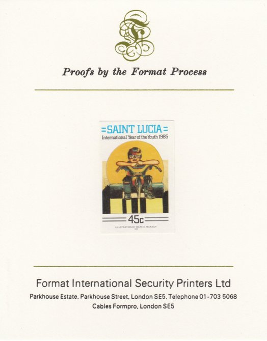 St Lucia 1985 Int Youth Year Paintings 45c imperf proof mounted on Format International proof card as SG 842