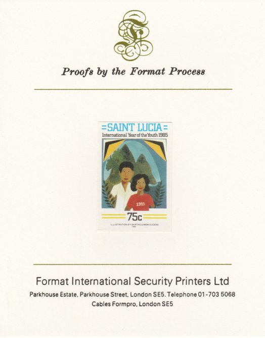 St Lucia 1985 Int Youth Year Paintings 75c imperf proof mounted on Format International proof card as SG 843
