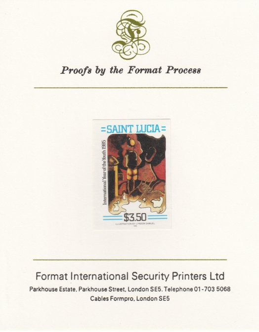 St Lucia 1985 Int Youth Year Paintings $3.50 imperf proof mounted on Format International proof card as SG 844