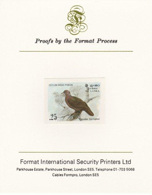 Sri Lanka 1983 Birds - 2nd series Wood Pigeon 25c imperf proof mounted on Format International proof card as SG 827