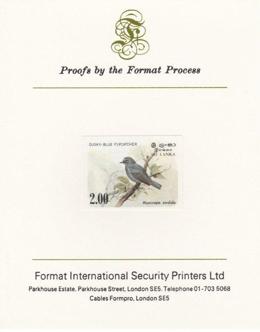 Sri Lanka 1983 Birds - 2nd series Flycatcher 2r iimperf proof mounted on Format International proof card as SG 829