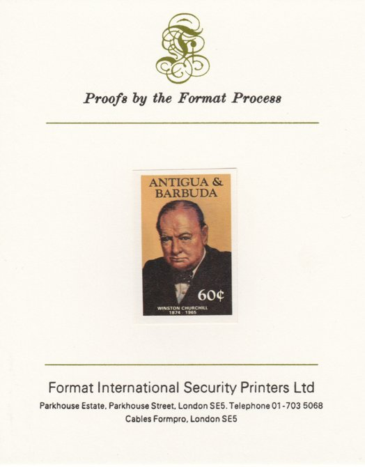 Antigua 1984 Famous People 60c (Churchill) imperf proof mounted on Format International proof card as SG 888