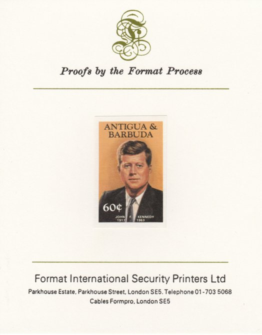 Antigua 1984 Famous People 60c (Kennedy) imperf proof mounted on Format International proof card as SG 890