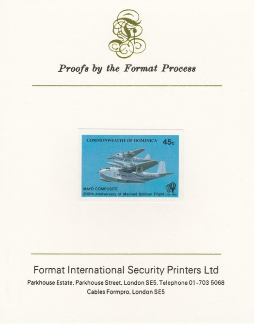 Dominica 1983 Manned Flight 45c (Mayo-Mercury Seaplane composite) imperf proof mounted on Format International proof card as SG 853