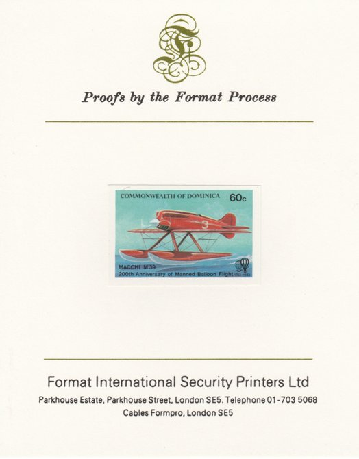 Dominica 1983 Manned Flight 60c (Macchi M39 Seaplane) imperf proof mounted on Format International proof card as SG 854