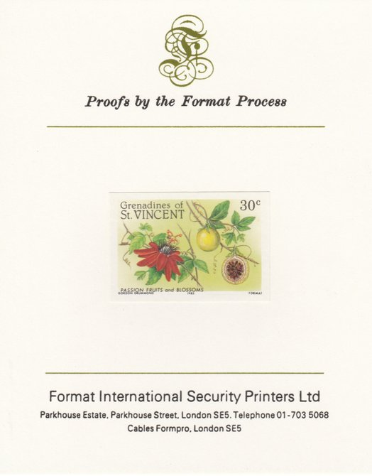 St Vincent - Grenadines 1985 Fruits & Blossoms 30c (Passion Fruit) imperf proof mounted on Format International proof card as SG 398