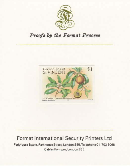 St Vincent - Grenadines 1985 Fruits & Blossoms $1 (Sapodilla) imperf proof mounted on Format International proof card as SG 400
