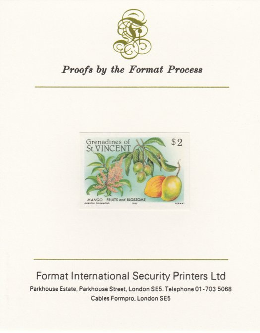 St Vincent - Grenadines 1985 Fruits & Blossoms $2 (Mango) imperf proof mounted on Format International proof card as SG 401