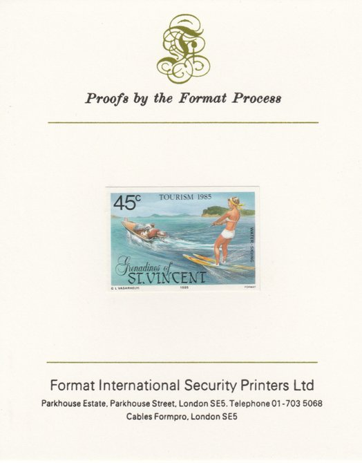 St Vincent - Grenadines 1985 Tourism Watersports 45c (Water Skiing) imperf proof mounted on Format International proof card as SG 387