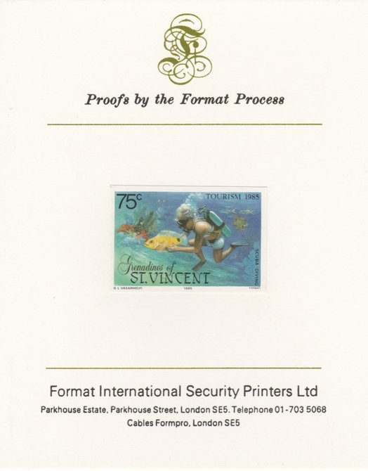 St Vincent - Grenadines 1985 Tourism Watersports 75c (Scuba Diving) imperf proof mounted on Format International proof card as SG 388
