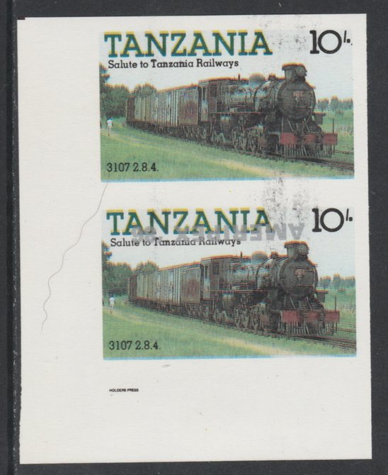 Tanzania 1986 Railways 10s (as SG 431) imperf proof pair with the unissued 'AMERIPEX '86' opt in silver inverted (some ink smudging) unmounted mint