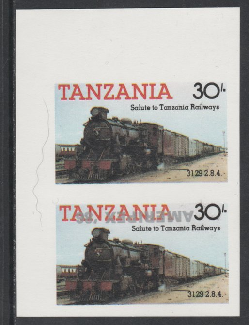 Tanzania 1986 Railways 30s (as SG 433) imperf proof pair with the unissued 'AMERIPEX '86' opt in silver inverted (some ink smudging) unmounted mint