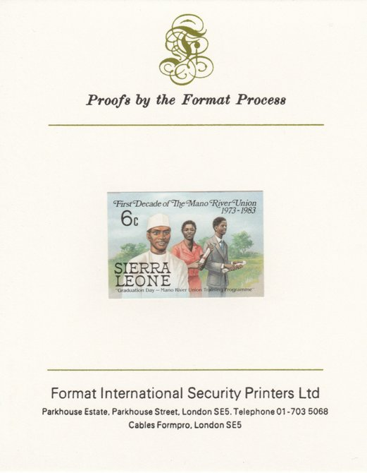 Sierra Leone 1984 Mano River 6c (Graduation Day) imperf proof mounted on Format International proof card as SG 783