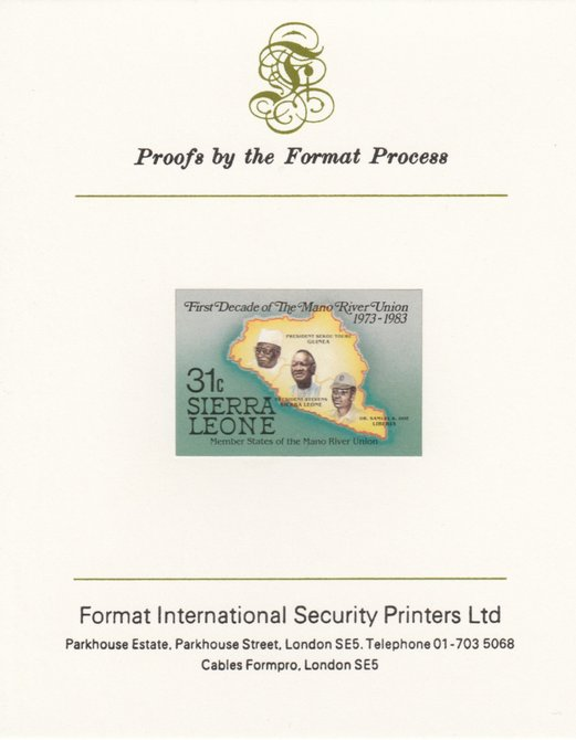 Sierra Leone 1984 Mano River 31c (Map & Presidents) imperf proof mounted on Format International proof card as SG 785