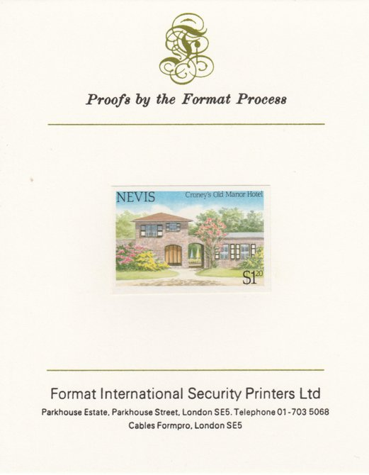 Nevis 1985 Tourism (2nd series) $1.20 (Croney's Old Manor Hotel) imperf proof mounted on Format International proof card as SG 245