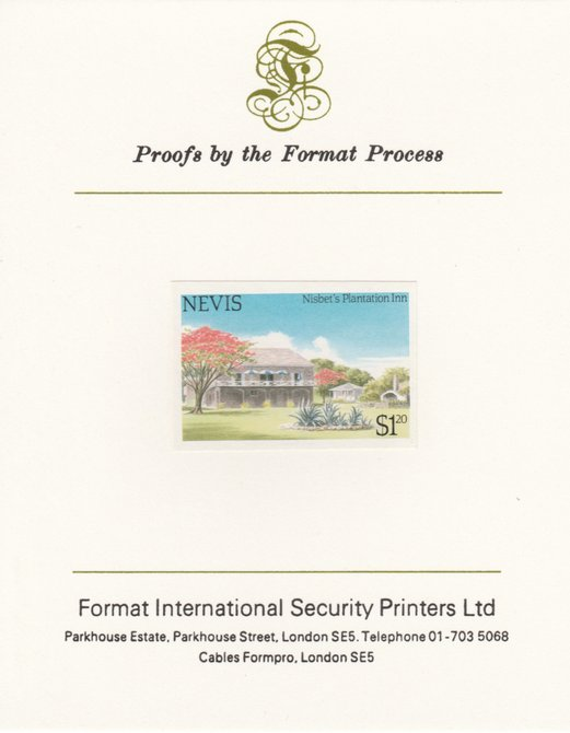 Nevis 1985 Tourism (2nd series) $1.20 (Nisbet's Plantation Inn) imperf proof mounted on Format International proof card as SG 247