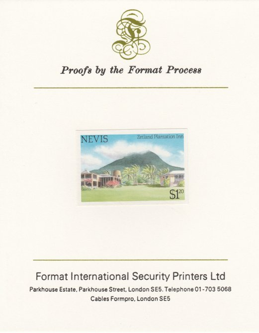 Nevis 1985 Tourism (2nd series) $1.20 (Zetland Plantation Inn) imperf proof mounted on Format International proof card as SG 248