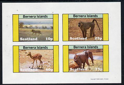 Bernera 1981 Animals (Lion, Monley, Deer & Elephant) imperf  set of 4 values (10p to 75p) unmounted mint