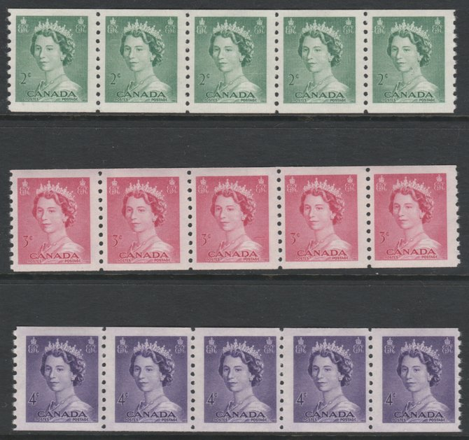 Canada 1953 QEII 2c green, 3c carmine & 4c violet coil stamp (imperf x perf 9.5) each in unmounted mint strips of 5 SG 455-7
