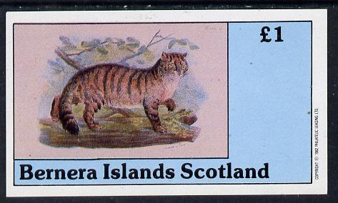 Bernera 1982 Wild Cats imperf souvenir sheet (�1 value) unmounted mint