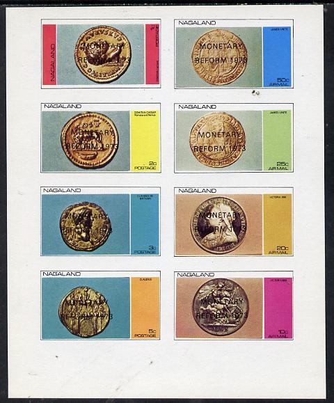 Nagaland 1973 Coins imperf  set of 8 values (1c to 50c) opt'd Monetary Reform unmounted mint