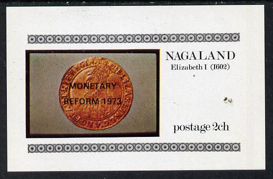 Nagaland 1973 Coins imperf souvenir sheet (2ch value) opt'd Monetary Reform, unmounted mint