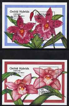 Grenada - Grenadines 1990 'Expo 90' International Garden & Greenery Exhibition set of two m/sheets showing orchid hybrids, unmounted mint, SG MS 1223