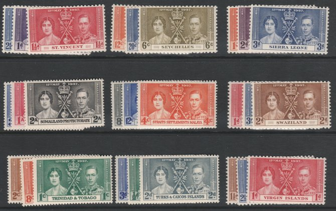 OMNIBUS - 1937 Coronation the Crown Colonies complete omnibus - 45 sets of 3 all unmounted mint (including Hong Kong) 135 stamps cat \A3130