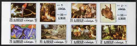Ajman 1971 Paintings of Animals or Birds imperf set of 8 (Mi 1099-1106B) unmounted mint