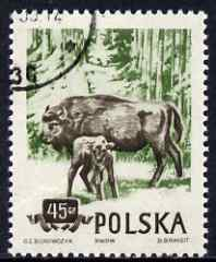 Poland 1954 European Bison 45g cto used from Protected Animals set, SG 900
