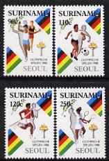 Surinam 1988 Olympic Games Seoul set of 4 (Relay, Tennis, Football, Pole Vault) unmounted mint, SG 1374-77