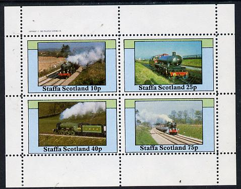 Staffa 1982 Steam Locos #12 perf  set of 4 values (10p to 75p) unmounted mint, stamps on railways