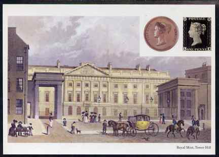 Postcard - Royal Mint on Tower Hill, Medal & 1d black PPC produced by National Postal Museum unused and fine