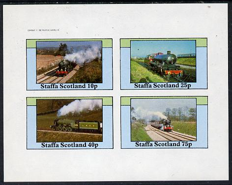 Staffa 1982 Steam Locos #12 imperf  set of 4 values (10p to 75p) unmounted mint