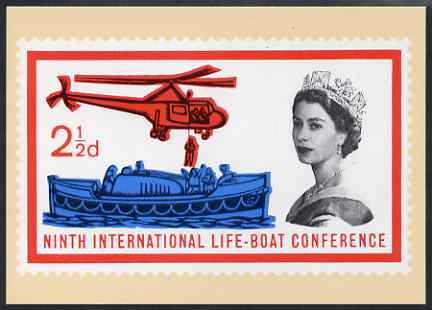 Postcard - Safety at Sea - Lifeboat stamp of 1963 PPC produced by National Postal Museum unused and fine