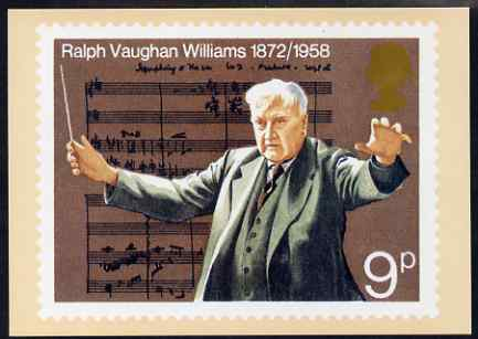 Postcard - European Music Year - Vaughan Williams 9p stamp of 1972 PPC produced by National Postal Museum unused and fine